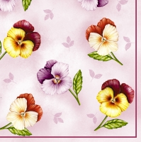 Serviettes lunch Pansies of rose