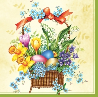 Lunch napkins Spring basket of cream