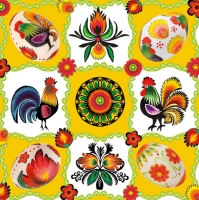 Lunch napkins Rooster+Eggs yellow/white