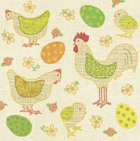 Lunch napkins Rooster+Eggs+Flowers