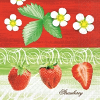 100 serviettes de table en papier mousseline - STRAWBERRY