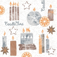 50 Linclass Serviettes dinner Candle Time  (grau)