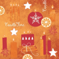 50 Linclass Dinner Napkins - Candle Time (rot)