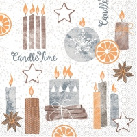 100 Tissue Lunch Napkins - Candle Time (grau)
