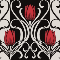 50 Linclass Dinner napkins ANNIKA rot-schwarz