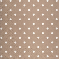 Lunch napkins Hearts&Dots taupe