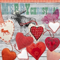 Lunch napkins X-mas Hearts