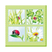 Cocktail napkins Ladybird green