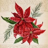 Serviettes lunch Vintage Poinsettia