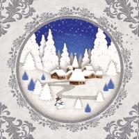 Serviettes de table 33x33 cm - paysage hivernal