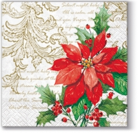 Serviettes cocktail  Stylish Poinsettia white