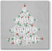 Serwetki 33x33 cm - Bardzo Boże Narodzenie (szary)