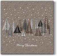 Serviettes lunch Inspiration Winter Flakes Snowy Forest (beige)