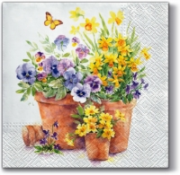 Lunch napkins Pansies in a Pot