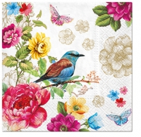 Serviettes de table 33x33 cm - Oiseau de paradis