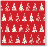 Lunch napkins Triangle Trees (red)