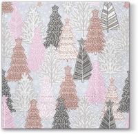 Lunch napkins Glittery Spruces (silver)