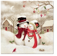 Serviettes de table 33x33 cm - Famille Snowy