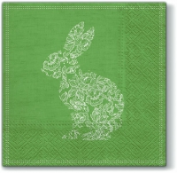 Serviettes de table 33x33 cm - Lace Bunny vert lapin
