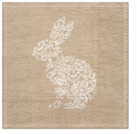 Serviettes de table 33x33 cm - Dentelle Lapin marron