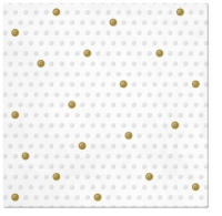Serviettes de table 33x33 cm - Inspiration Dots Spots blanc - or