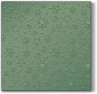 Serviettes lunch Winter Flakes (green metallic)