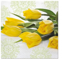 Serviettes de table 33x33 cm - Tulipes jaunes