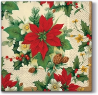 Serviettes lunch Poinsettia Bauquet