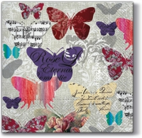 Napkins 33x33 cm - Romantic Butterflies