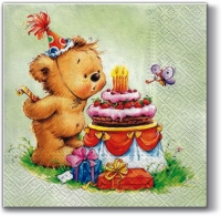 Lunch napkins Birthday Bear (green)
