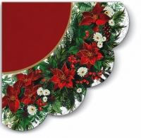Napkins - round Poinsettia Wreath (red)