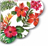 Napkins - round Hawaiian Flowers