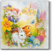 Lunch napkins Bunnies in Flowers