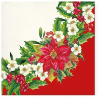 Serviettes lunch Wreath With Poinsettia Red