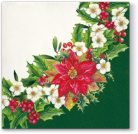Lunch napkins Wreath With Poinsettia Green