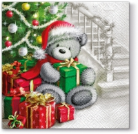 Lunch Servietten Christmtas Bear With Gifts