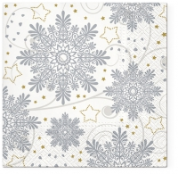 Lunch Servietten Snowflakes (Silver)