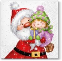 Servietten 33x33 cm - Weihnachtsmann mit Kind