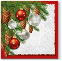 Napkins 33x33 cm - Baubles and Cones
