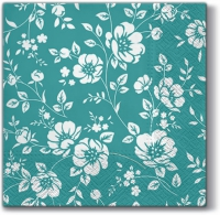 Lunch napkins Ornament Bushes (dark turquoise)