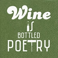 Serviettes cocktail  Bottled poetry green