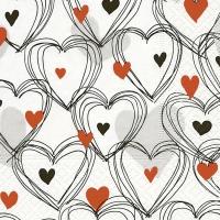 Serviettes de table 25x25 cm - Douche de coeurs rouge