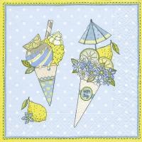 Serviettes de table 25x25 cm - Cônes de crème glacée