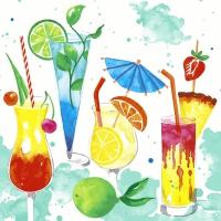 Napkins 25x25 cm - Colourful drinks
