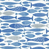 Serviettes de table 33x33 cm - Banc de poissons
