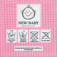 Serviettes lunch New baby pink