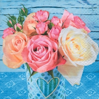 Lunch napkins Roses on blue