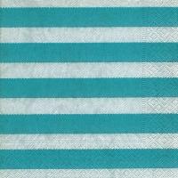 Lunch Servietten Linen stripes aqua