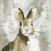 Serviettes de table 33x33 cm - Lapin aquarelle