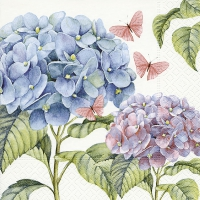 Serviettes de table 33x33 cm - Hortensia doux